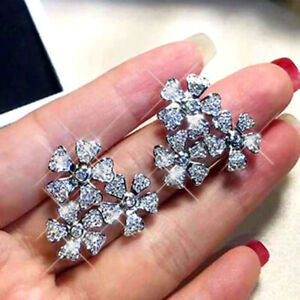 Gorgeous Cubic Zirconia 925 Silver Stud Earrings Women Party Jewelry A Pair/set