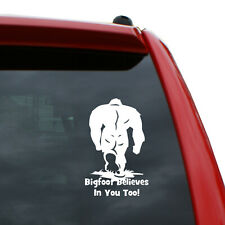 """Bigfoot Believes Vinyl Decal   Color: White   5"""" tall"""