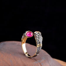 H03 Ring Silber 925 vergoldet mit Blumen roter Korund größenverstellbar
