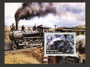 2004 Republique De Cote D'Ivoire - 600f  Train Mini sheet Mint-fine