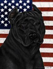 Patriotic (D2) Garden Flag - Black American Pit Bull Terrier 324071