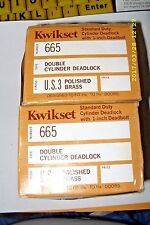 "(2) Kwikset No 665 Double Cylinder 1"" Deadlock, Polished Brass. Made In Usa."