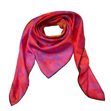 NEW ROSEMARY GOODENOUGH MAD RED FLOWERS IX' SILK TWILL SCARF RRP £250.00