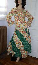 Vtg 70 Boho Wrap Bell Slv Blouse Shirt Full Circle Maxi Skirt Hippie Festival M