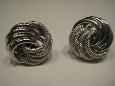Gold knot earrings 9 carat white gold 14mm frosted and shiny