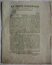 La DIETE Générale de CRACOVIE. Ordre Archi Chancellier de tous les Menteurs.1780
