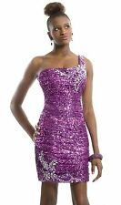 NWT SZ 10 purple fully sequins short one shoulder cocktail dress, PartyTime 6906