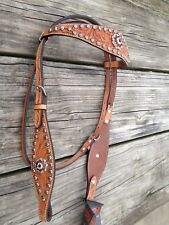 Circle Y floral tooled light oil western headstall w/crystal conchos, spots