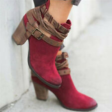 Vintage Womens Ladies Ankle Boots High Block Heel Buckle Lace Up Casual Shoes
