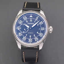 45mm Parnis black dial Seagull mechanical Automatic Movement Men's Watch