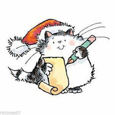 New Penny Black WISH LIST Wood Rubber Stamp Christmas Cat Kitty Santa Hat Writte