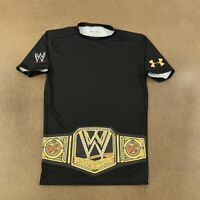 Under Armour WWE Belt Graphic Men's Size Large Black Compression T-Shirt *Flaw*