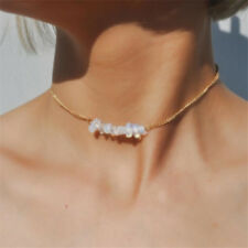 Natural Crystal QUartz Chip Gemstone Choker Pendant Gold Chain Collar Necklace