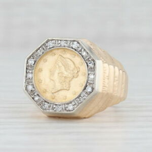 0.20ctw Diamond Halo Coin Copy Ring 14k 12k Yellow Gold Size 10 US 1853 $1