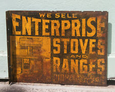 Antique Enterprise Stoves and Ranges Flange Sign Vintage Advertising Wall Decor