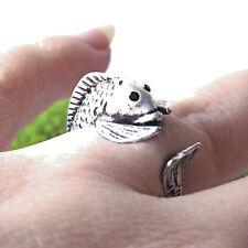 Cute Funny Vintage Antique Silver Adjustable Detailed Sea Fish Animal Wrap Ring