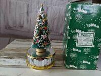 Vintage Enesco Musical Christmas tree on Mirrored Base 490512 Holiday Ornament