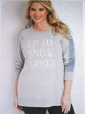 """Maurices With Tags Gray """"up to Snow Good"""" Graphic Pullover Plus Size 3-3x"""