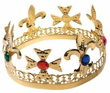 Gold Metal King Crown with Jewels Adult Size Prom Renaissance