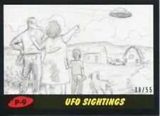 Mars Attacks The Revenge Black [55] Pencil Art Base Card P-9 UFO Sightings