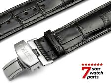 For SEIKO Watch BLACK Leather Strap Band Buckle Clasp DIVER Grand