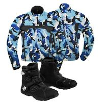 Motorcycle Racing Jacket Camo Blue Waterproof Coat Leather Touring Boots Black