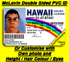 McLovin Superbad Fogell Replica PVC ID card DOUBLE SIDED COSPLAY (Customisable)