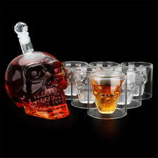 700ml Crystal Skull Head Decanter with 6Pcs 75ML Glass Cup Bar Wine Bottle Set