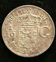 1941 Nederl Indie 1/10 Gulden  Silver Coin Netherlands