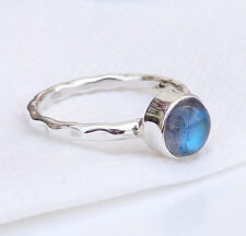 Labradorite Sterling silver Ring, Hammered silver Stackable Ring size 7-EB2715