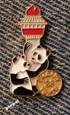 1988 Olympic Torch Pin Badge ~ Calgary Tower ~ Panda Bear
