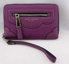 ** MARC JACOBS GOTHAM Begonia Leather  Zip Phone Wristlet Clutch Msrp $155.00