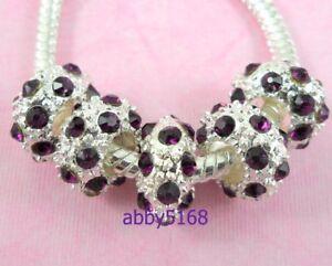 10pcs Purple Silver Tone Beads Rhinestone Big Hole Fit Charm Bracelet NX06