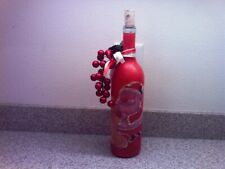 Hand Decorated Red Santa Themed Wine Bottle Light