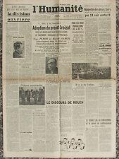 L'Humanité - (7 août 1946) Projet Croizat - Aux 21 - Division ouvrière -