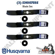 3-Pack Genuine Husqvarna 531007585 Blade Kit for 103 CM Deck Rider