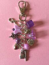 HANDMADE NURSE MIDWIFE MEDICAL HAND BAG CHARM KEYRING  KITSCH Purple GREAT GIFT