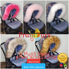 Luxury Pram Fur Hood Furs Trim Baby Pram Buggy Pushchair Parts Universal Fit