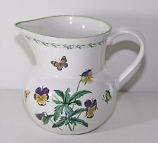 Studio Nova 60 oz Pitcher Garden Bloom Y2372 Butterflies Flowers Pansy Bee DISC