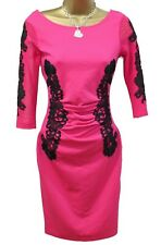 Lipsy Bodycon Dress 8 Pink Lace Mesh 3/4 Sleeve Stretchy Occasion Wedding Party