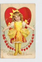 PPC POSTCARD VALENTINE CLAPSADDLE ? GIRL YELLOW DRESS HEARTS TO THE ONE I LOVE E