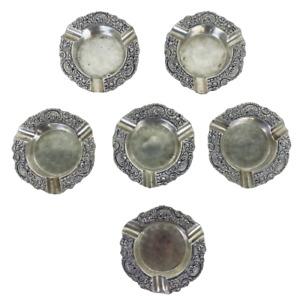 Lot 6 German 835 Coin Silver Rococo Open Salt Cellars Dishes Jos. Hartmann Koln