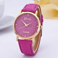 Ladies Gold Geneva Platinum Range Quartz Snow Flake Rose Red Faced Wrist Watch.