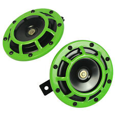 LIME GREEN SUPER LOUD TWO ELECTRIC BLAST TONE HORN MOTORCYCLE CHOPPER 12V