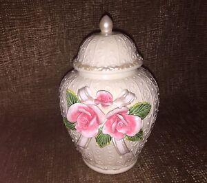 Vintage Ceramic Porcelain Applied Rose Flower Urn, Pot, Jar & Lid Ivory w/pearl