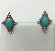Vintage Sterling Silver Bezel Set Turquoise Screw On (nonpierced) Earrings