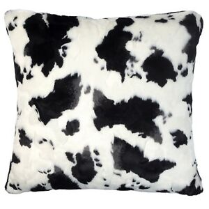 Faux Fur Cow Cushion Black and White Top Throw Sofa Pillow Cover UK 45cm 18in