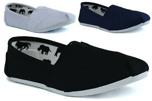 LADIES NEW FASHION CASUAL SLIP ON ESPADRILLES FLAT PLIMSOLLS SUMMER PUMPS Shoes