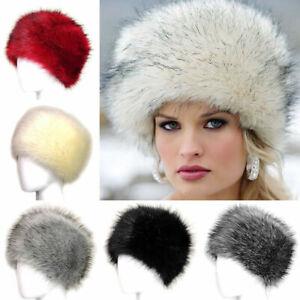 Winter Women Faux Fur Russian Hat Cycling Thick Fluffy Ski Cap Warm Outdoor AU