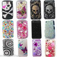 NEW BLING FLEUR COOL DE CRÂNE STRASS COQUE DIAMANT HOUSSE POUR APPLE IPHONE 6 6S